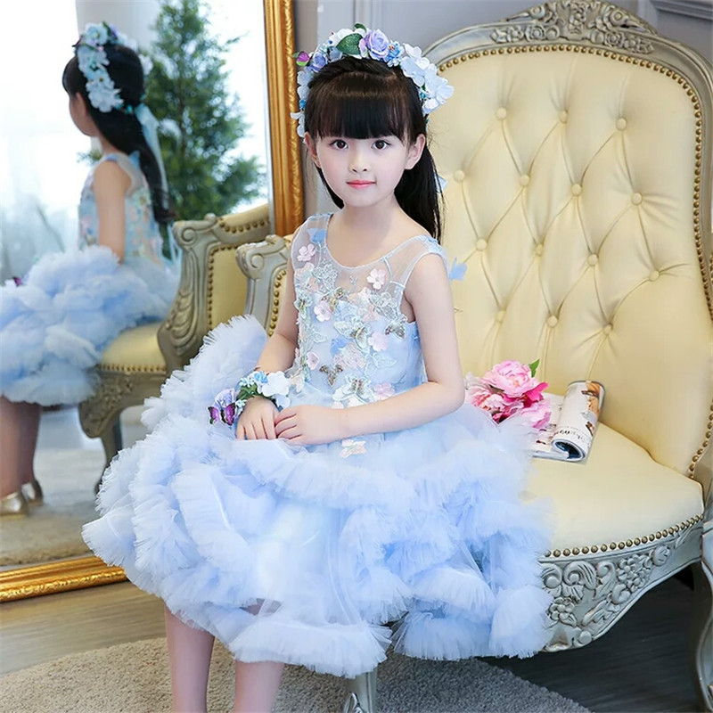 New Children Girls Fashion Sweet Blue Color Birthday Wedding Evening Party Ball Gown Flowers Dress Kids Babies Model Host Dress