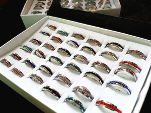 Image 4 - New 36PCs One Row Rhinestone Full Circle Stainless Steel Band Rings Multi Color wholesale lots