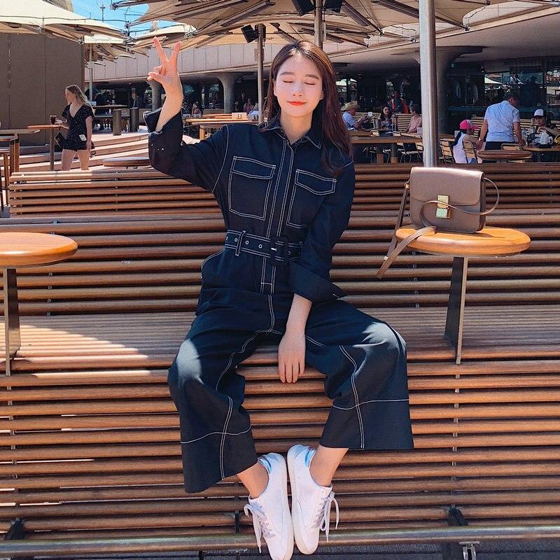 Combinaisons Coréen Lâche Décontractés Ceinture Femme Style Femmes Fit Salopette Barboteuses Bleu Survêtements Jeans Ceintures Denim p7qSSdAwn