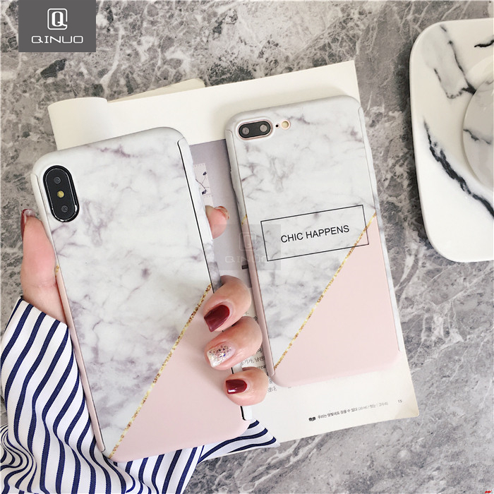 360 Degree Full Body Protective Phone Iphone 7 8 6 6S Plus 5S Marble Stone Phone Cover For Iphone X 10 Full Shell