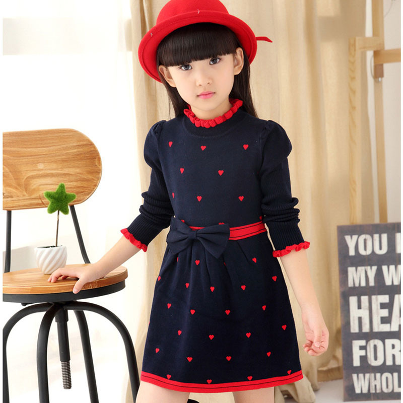 knitting kids dresses for girls with bow spring autumn 2018 knitted sweater princess girl dress long sleeve tops clothing girl