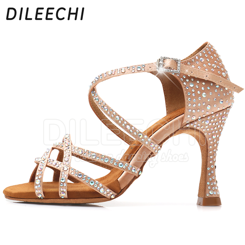 Image 5 - DILEECHI Latin dance shoes women NEW Bronze satin Shining Rhinestone Cuba high heel 9cm Salsa Beige Black Ballroom dancing shoes-in Dance shoes from Sports & Entertainment