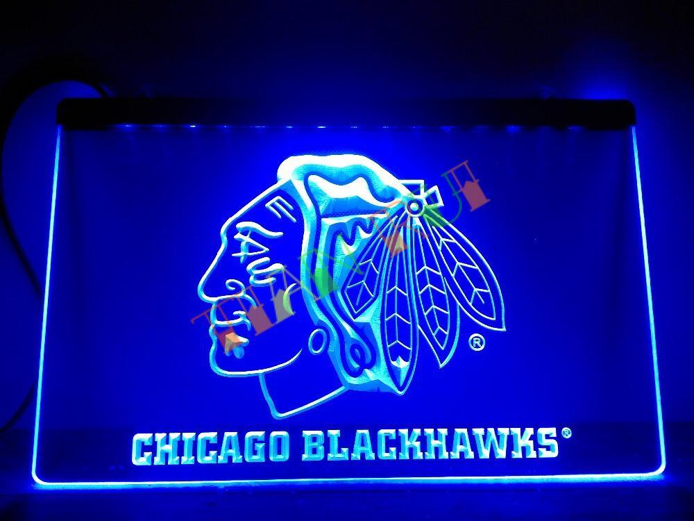 Ld082 Chicago Blackhawks Hockey Led Neon Light Sign Home Decor Shop Crafts China