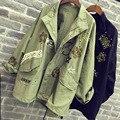 2016 женщин куртки пальто модный дизайн куртку вышивка аппликация заклепки завышение женщин армия зеленый пальто черный