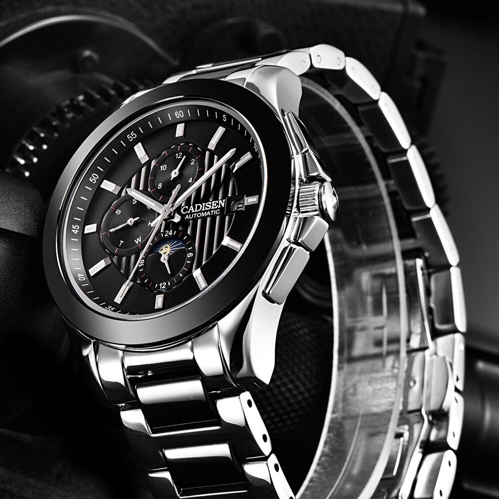 Saatler'ten Mekanik Saatler'de CADISEN erkek saati Otomatik İzle Erkekler Hafta Takvimler Ay Çelik Seramik Su Geçirmez Iş Kol Saati Relogio Masculino'da  Grup 2