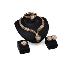 8892 Wedding Decorations Crystal Round Style Necklace Earrings Ring Bracelet Trendy Bridal Jewelry Sets For Women