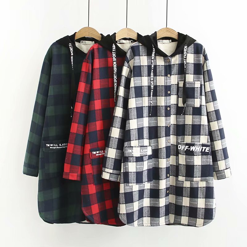 Autumn And Winter New 2018 Large Size Women's Dress With Plaid Cartoon Print Cap Shirt