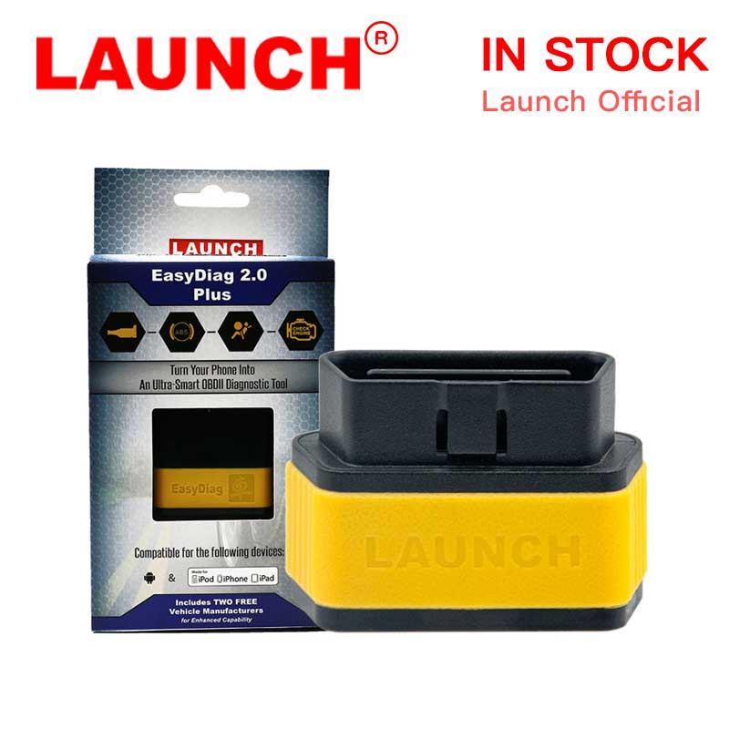 Launch X431 OBD2 I Diagnostic Tool Code Reader Car Engine Check Light Scanner ABS SRS Transmission Easydiag 2.0 Plus launch x431 idiag connector full set package x 431 easydiag adapter launch x431 yellow box without b enz 38 pin adapter in stock