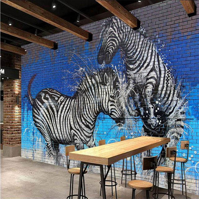 beibehang Large Custom Wallpaper Mural Graffiti Brick Wall Zebra