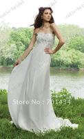 Free Shipping Custom Made Clustering Flowers Strapless Chiffon Sexy Beach Wedding Dress Casual Wedding Gown