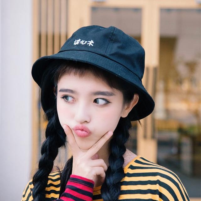 a5da9ab9 Women Spring Summer Korea Fashion Chinese Word Embroidery Warm Bucket Hat  Cute Girl Japanese Harajuku Casual Spring Tour Sun Hat