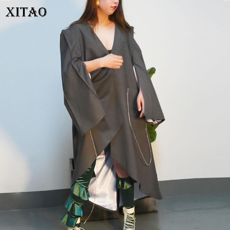 Unter Der Voraussetzung xitao Gekonntes Stricken Und Elegantes Design BerüHmt Zu Europa Mode Weibliche Frühling 2019 Neue Casual Mantel Volle Hülse Einfarbig V-ausschnitt Falten Unregelmäßigen Blazer Wbb2755 Im In- Und Ausland FüR Exquisite Verarbeitung
