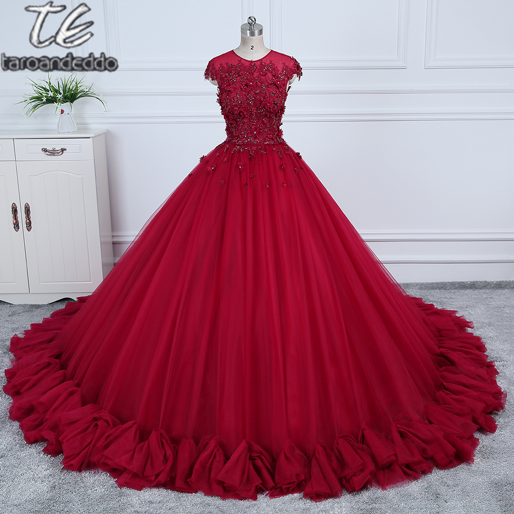 Cheap Price US4 Size Only ONE PIECE Ball Gowns Burgundy