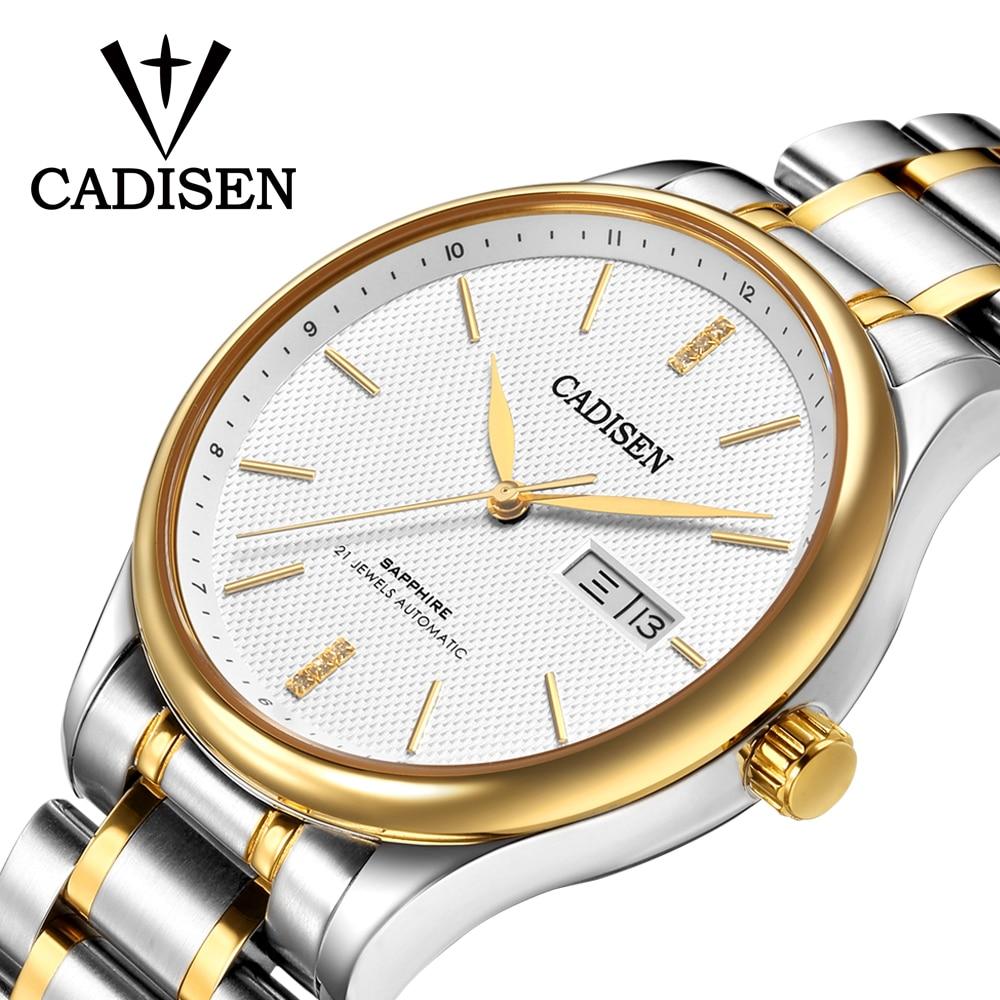 купить CADISEN Luxury Brand Watch Men Fashion Dress Calendar Stainless Steel Watches Men's Casual Automatic Mechanical Wristwatch по цене 4759.15 рублей