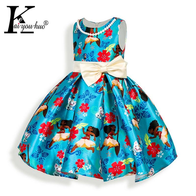 где купить  Moana Dress Summer Cartoon Dresses For Girls Costume Children Clothing Princess Girls Dress Casual Bow Ocean Puzzle Kids Clothes  по лучшей цене