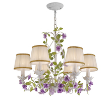 Luxury New Rustic Rural European Garden Green Purple Flower Hotel Lobby Bedroom Chandelier Drops Lights Lighting For Living Room