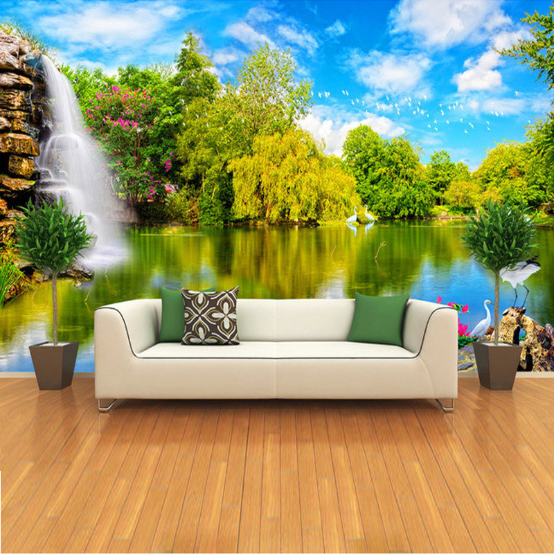Custom 3D Photo Wallpaper Embossed Wallpaper For Living Room TV Background Wall Paper Papel De Parede 3D Landscape Waterfall