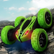 все цены на Remote Control Stunt Cars High Speed Flashing 3D Flip Racing Vehicle Double Rotation 360 Degree RC Car Toys Children Kids Gift онлайн