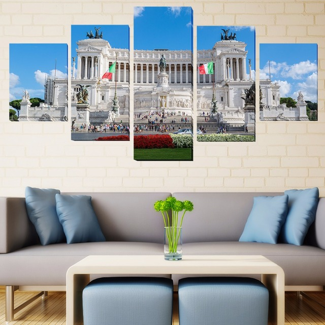 5 Pcs/Set Framed HD Printed Rome Italy City Monuments Picture Wall ...