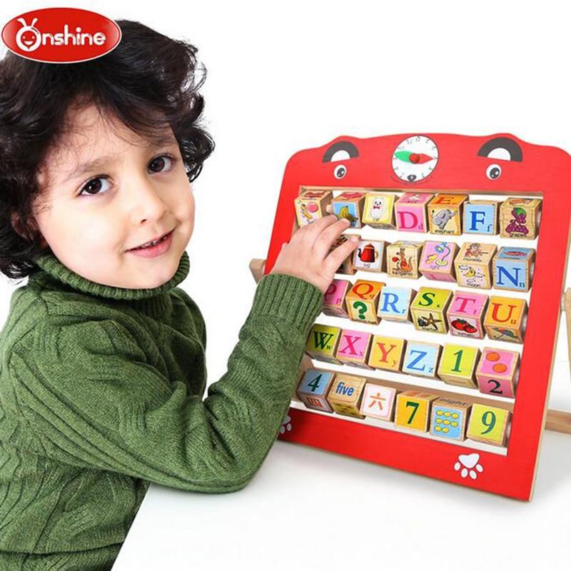 Nouveaux cadres de calcul multifonctions enfant apprentissage perle Cognition mots blocs comptage animaux maths jouets enfants apprentissage jouets en bois