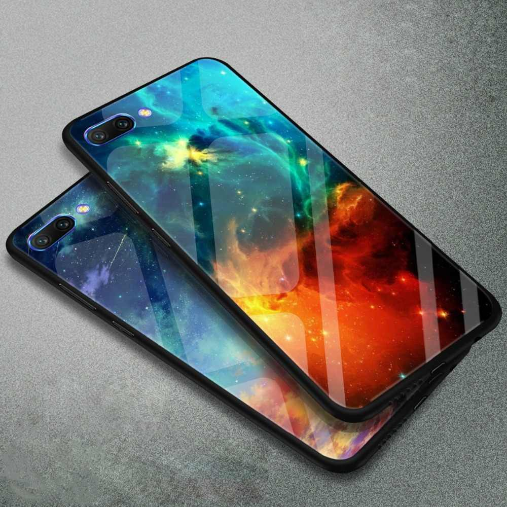 WeeYRN Tempered Glass Phone Case Huawei Honor 10 Honor10 Funda Luxury Case Full Protective Glass Hard Back Cover Huawei Honor 10