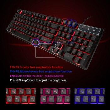 LOIOG Russian / English 3 Color Backlight Gaming Keyboard Teclado Gamer Floating LED Backlit USB Similar Mechanical Feel 4