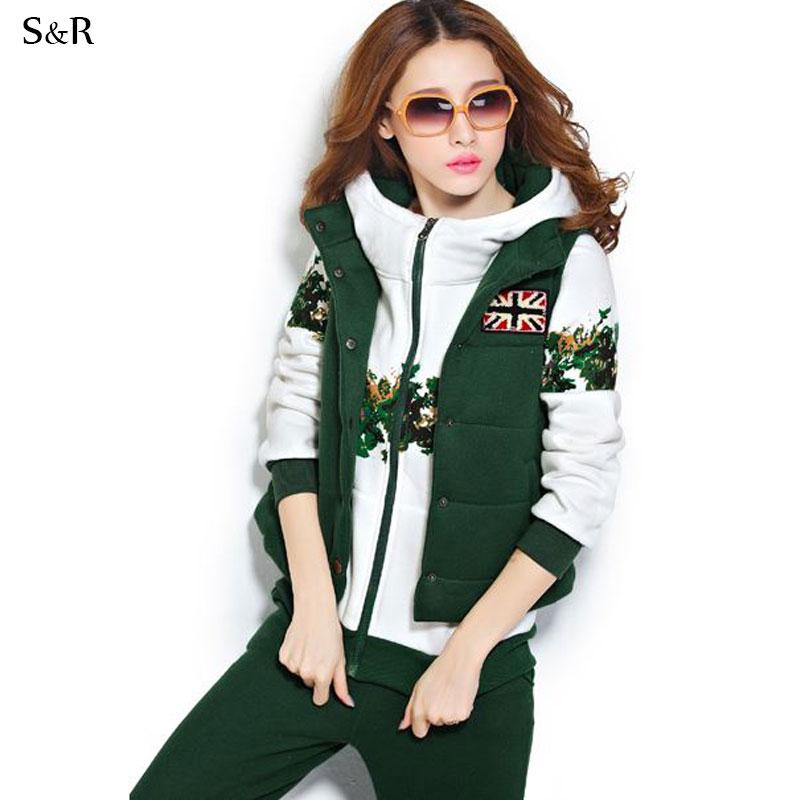 Fantastic New Women Thick Hoodie Set Sport Suit Hoodiepantsvest 3pcsset