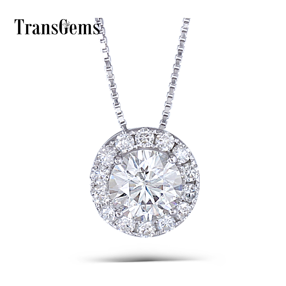 Transgems 14K 585 White Gold 1.3CTW 6.5mm GH Near Colorless Moissanite Slide Halo Pendant Necklace with Accents for Women 18k 750 white gold pendant gh color round lab grown moissanite double heart necklace diamond pendant necklace for women jewelry