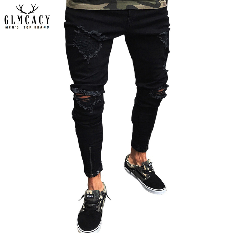 Mens Hip Hop Black Ripped Skinny Distressed Jeans Destroyed Straight Slim Fit Zipper Pencil Pants with Holes