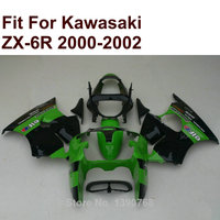 high quality injection for Kawasaki ZX6R fairing kit green black 2000 2001 2002 Ninja ZX 6R 636 00 01 02 fairings XR10