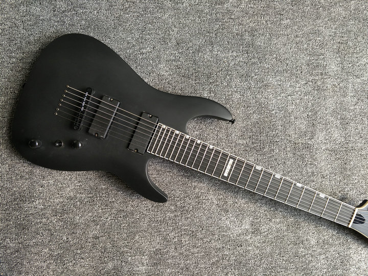 human New arrival 7 strings electric guitar,matte black clouds striped Body and Head,Black hardware, free shipping human free shipping guitar electric guitar suitcase electric guitar hollow body guitar left hand