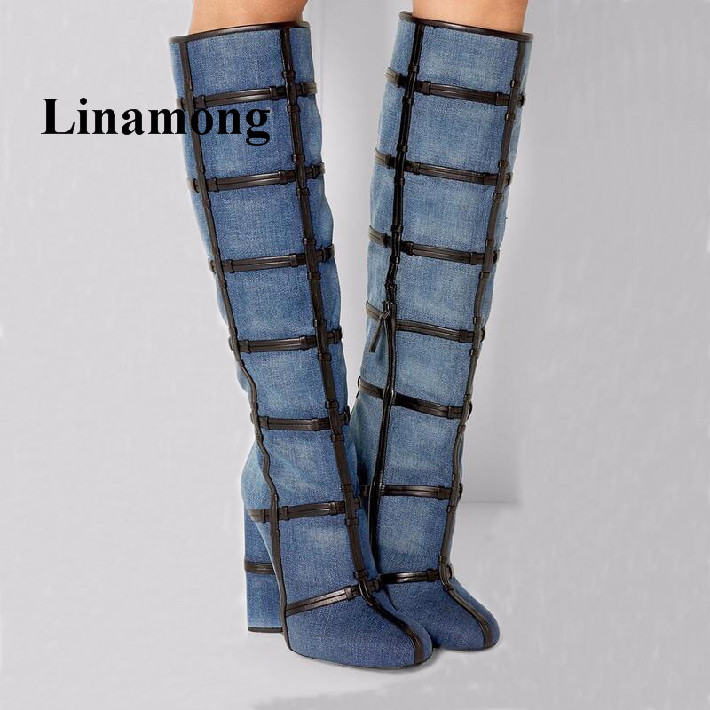 Newest Winter Mid-Calf Women Boots Fashion Denim Round Heel  Round Toe Side Zipper Black Leather Embellishment Ladies Shoes