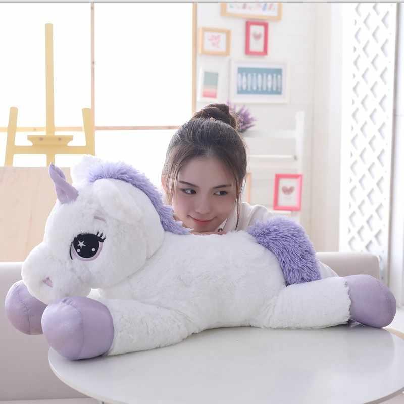 85 см/100 см Белый Единорог плюшевые игрушки гигантский Единорог чучело животное лошадь игрушка мягкая кукла Единорог Peluche подарок детям реквизит для фотосессии