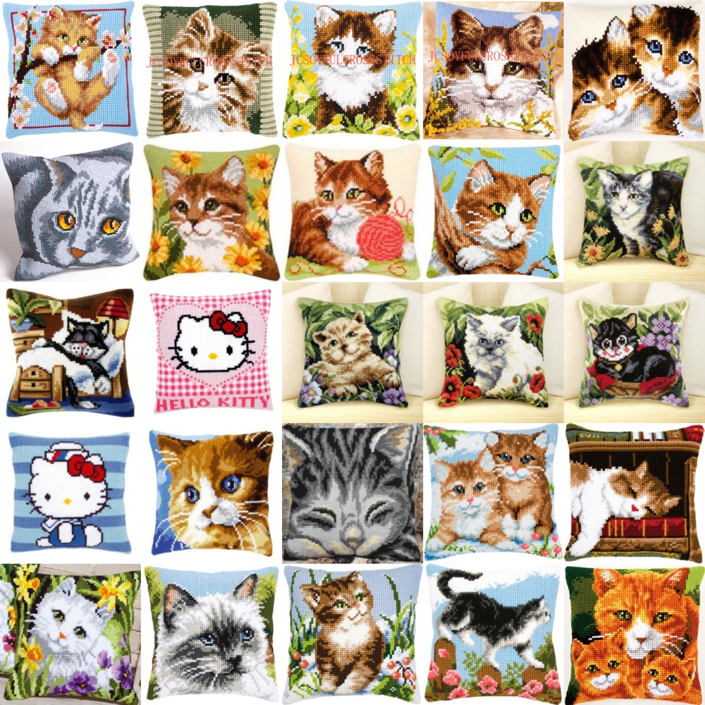 2016 Diy Needlework Kit Acrylic Yarn Embroidery Pillow Tapestry Canvas  Cushion Front Cross Stitch Pillowcase Cats