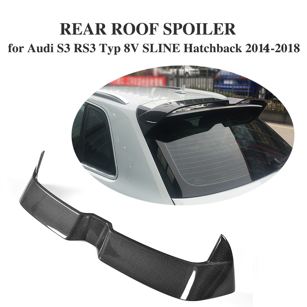ML Style Carbon Fiber Rear Roof Spoiler Window Wings for Audi S3 RS3 Typ 8V SLINE Hatchback 4 Door 2014-2018 Not fit 2door