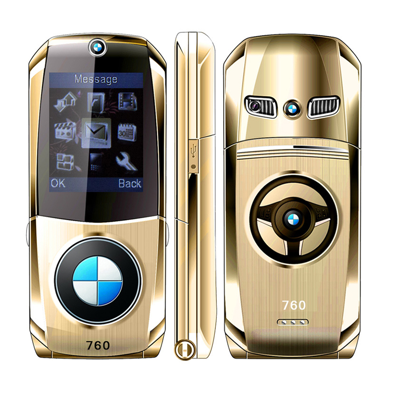 H-Mobile GSM New Car-Model Cell-Phone Key-Design Internet Shape Full-Metal Luxury Flip title=