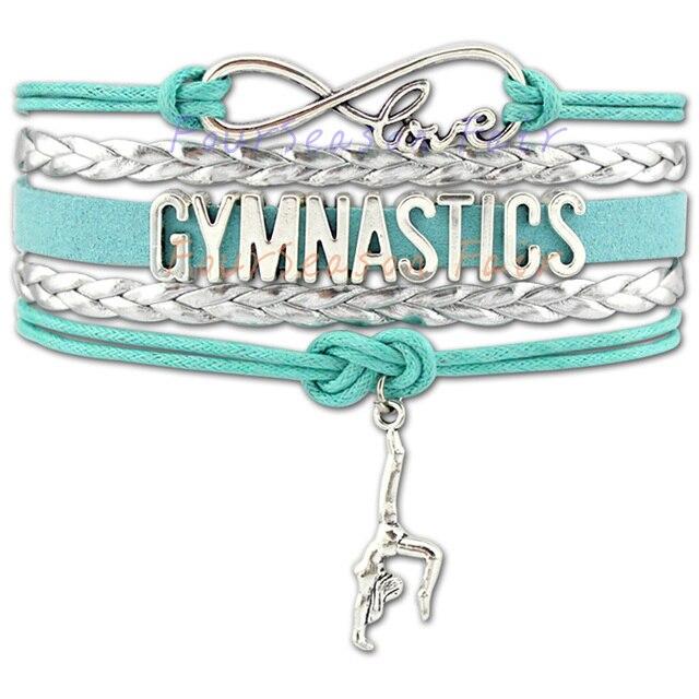 cc489c37b (10 PCS/lot) Custom-Infinity Love Gymnastics Charm Wrap Bracelet Gift for  Gymnast Wrap Braided Leather Bracelet Bangles