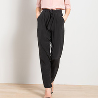 100 Silk Pants Women Simple Design Solid Sashes Pockets Side Zipper Harem Trousers New Fashion Europe