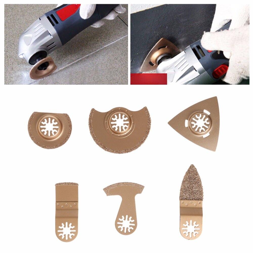 6 pz/set carburo oscillante Multi tool lama per Piastrelle malta malta di cemento