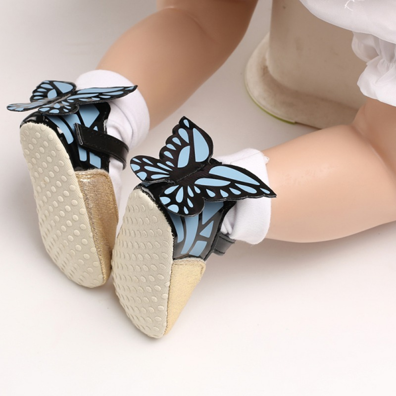 Baby Girl Shoes Fashion Cute PU Soft Sole Anti-slip Butterfly Design Crib Shoes First Walkers Walking Shoes