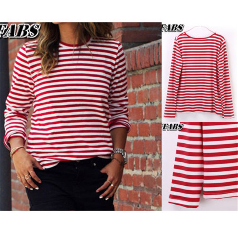 2019 Casual Women Red White Striped Long Sleeve T Shirt Cotton Loose Shirt Female Basic O Neck Tops Tee Autumn pullovers-in T-Shirts from Women's Clothing on AliExpress