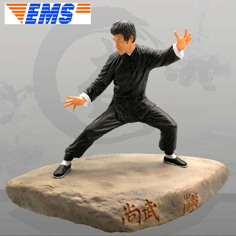 Martial Artist Bruce Lee Statue Kung Fu Movie Star Sculpture Full-Length Portrait Resin Action Figure Collectible Model Toy Q686 image