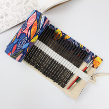 Kawaii Cute Fish Penal Roll School Pencil Case 36/48/72 Holes Canvas Pencilcase for Girls Boys Large Big Pen Bag Sationery Pouch