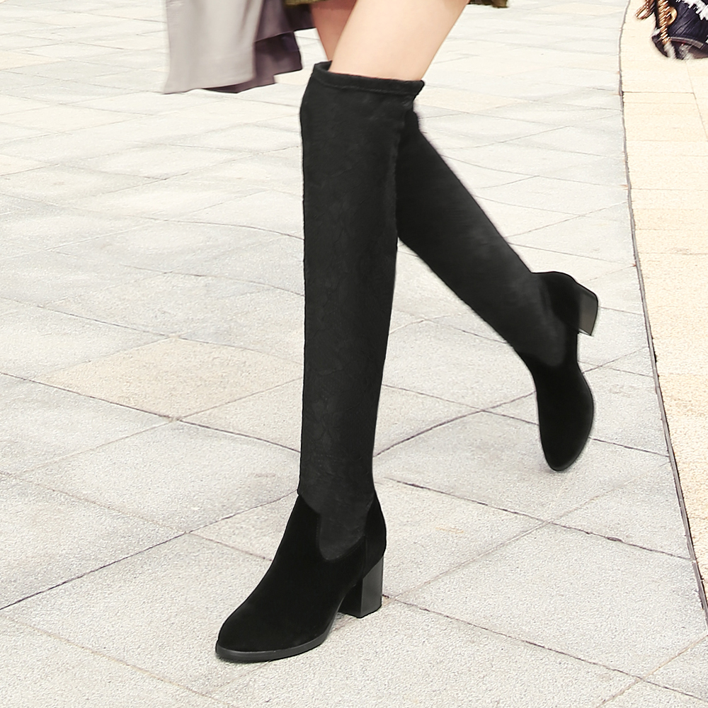 ФОТО South korean style autumn luxurious over knee high boots elastic round toe side zipper flat warm riding women boots ladies shoes