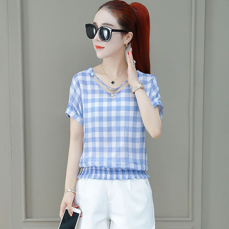 Women Spring Summer Style Chiffon   Blouses     Shirts   Lady Casual Short Sleeve V-Neck Plaid Blusas Tops Blue Red DF2678