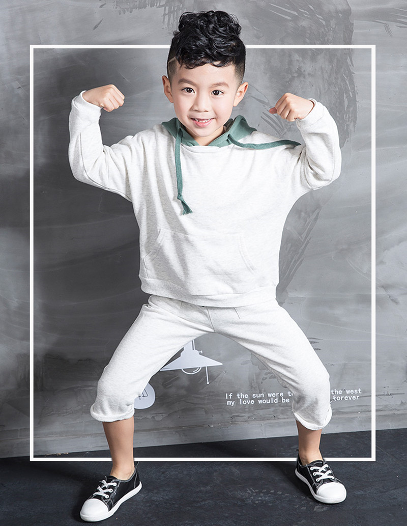 2017 Spring Autumn children's clothing set Soid Color Grey Costumes boy kids sport suits Hip Hop dance pant & hooded sweatshirts 2016 kids adults spring summer geometric star set black costumes hip hop dance pants