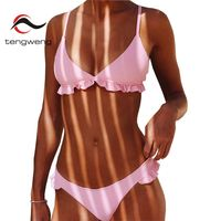 Tengweng 2018 Nuevo Pink Ruffle Sexy Bikini Set Acolchado Ladies Trajes de baño Tanga Gran tamaño Mujeres Del Traje de Baño Femenino traje de Baño Barato