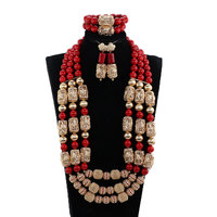 2018 Natural Coral Red African Coral Bridal Couple Jewelry Sets Real Coral Beads Wedding Jewelry Sets for Bride and Groom ABH793
