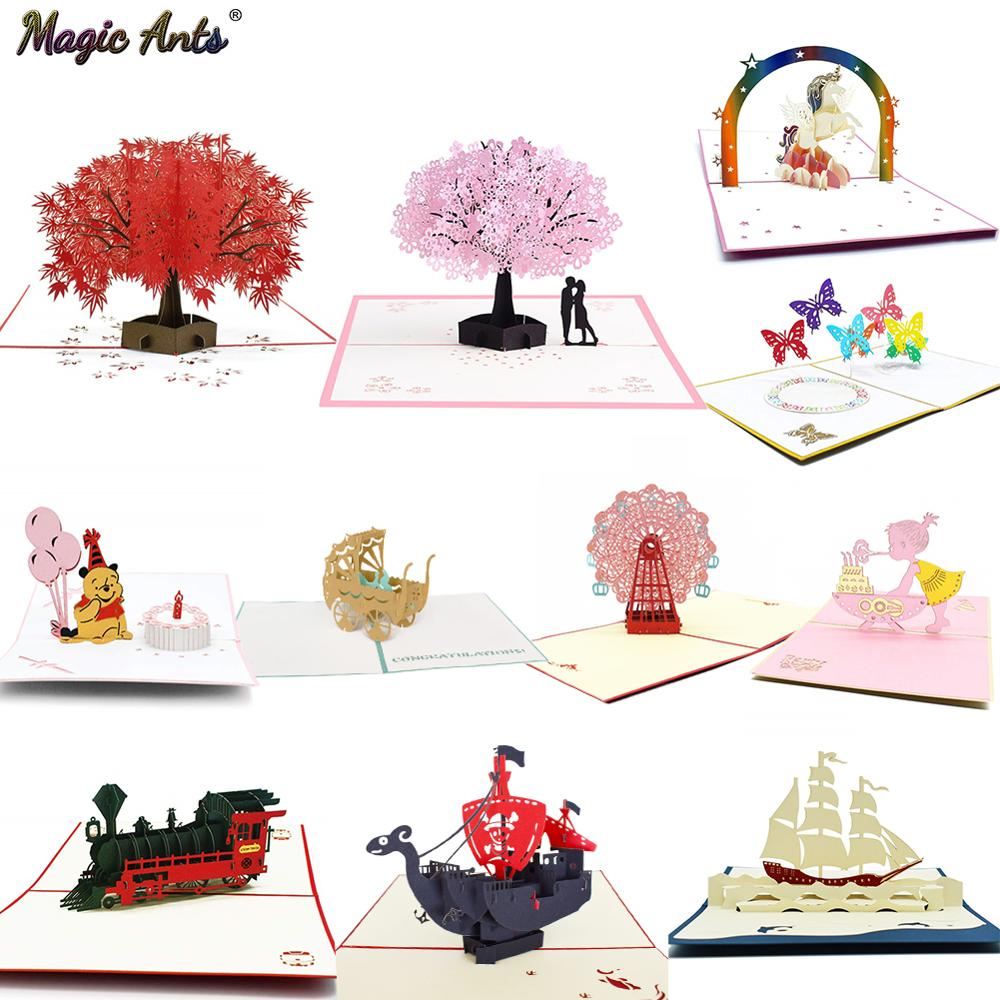 3D Pop UP Cards Flowers Birthday Card Anniversary Gifts Postcard Unicorn Maple Cherry Tree Wedding Invitations Greeting Cards gift for boyfriend on anniversary