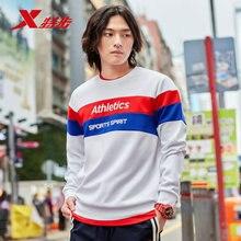 881329059206 Xtep мужские спортивные толстовки свитер осенний пуловер с круглым вырезом популярная цветная полоска модный Мужской Повседневный свитер
